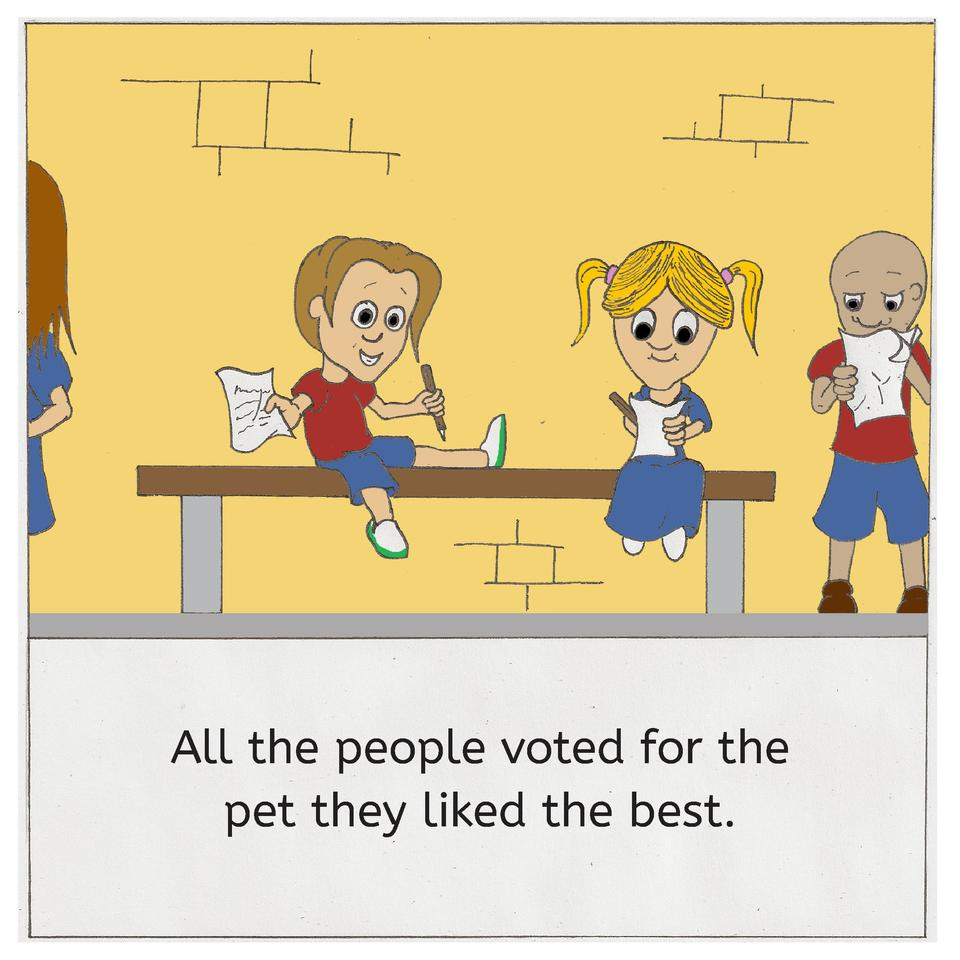 All the people voted for the pet they liked the best.