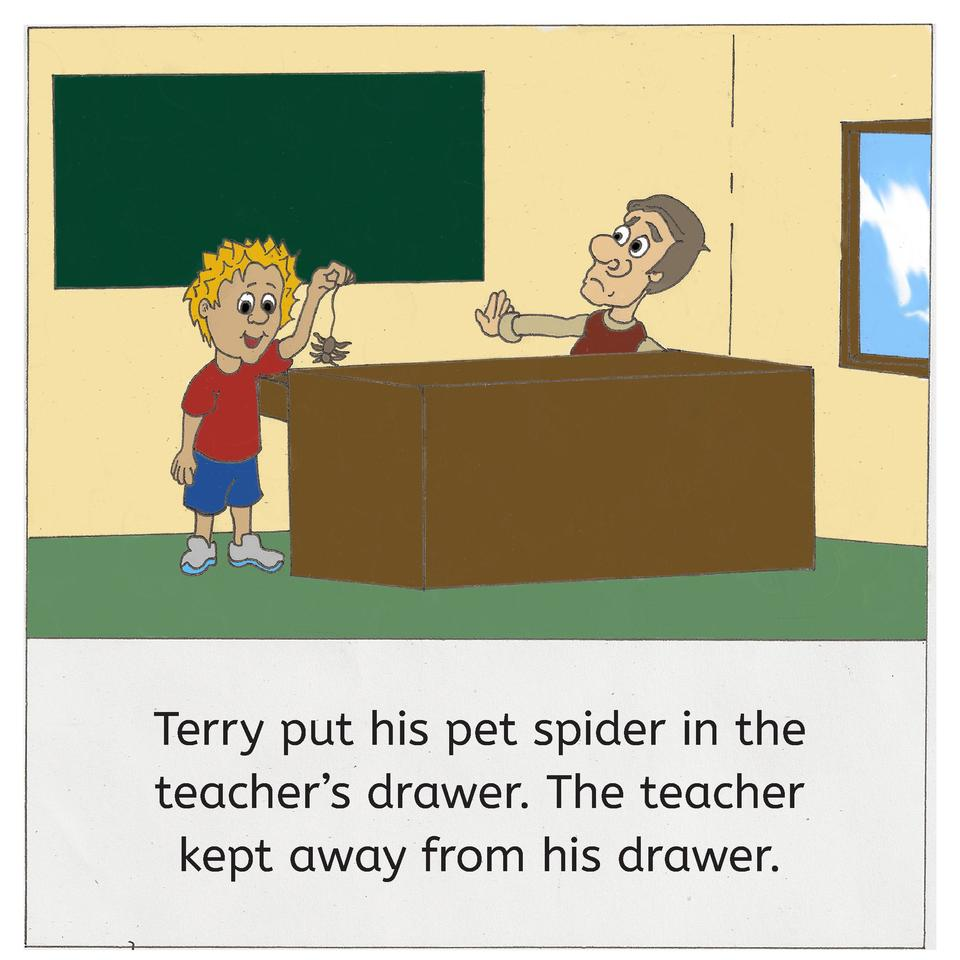 Terry put his pet spider in the teacher   s drawer. The teacher kept away from his drawer.