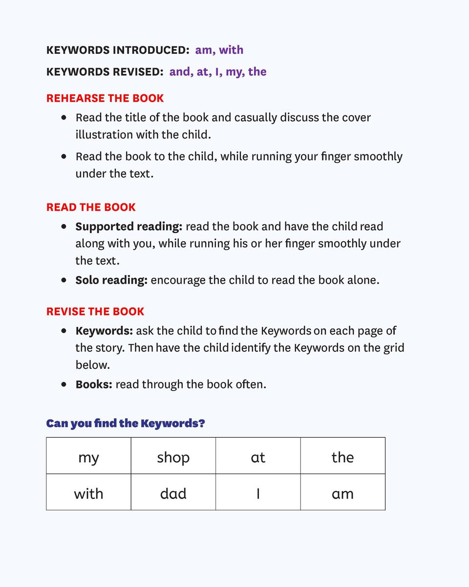KEYWORDS INTRODUCED  am, with KEYWORDS REVISED  and, at, I, my, the REHEARSE THE BOOK      Read the title of the book and ...