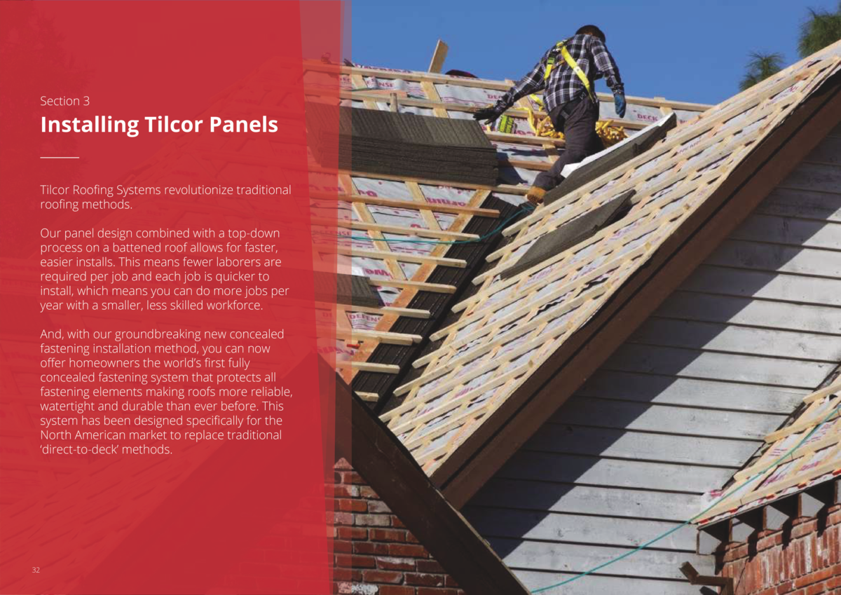 Section 3  Installing Tilcor Panels Tilcor Roofing Systems revolutionize traditional roofing methods. Our panel design com...