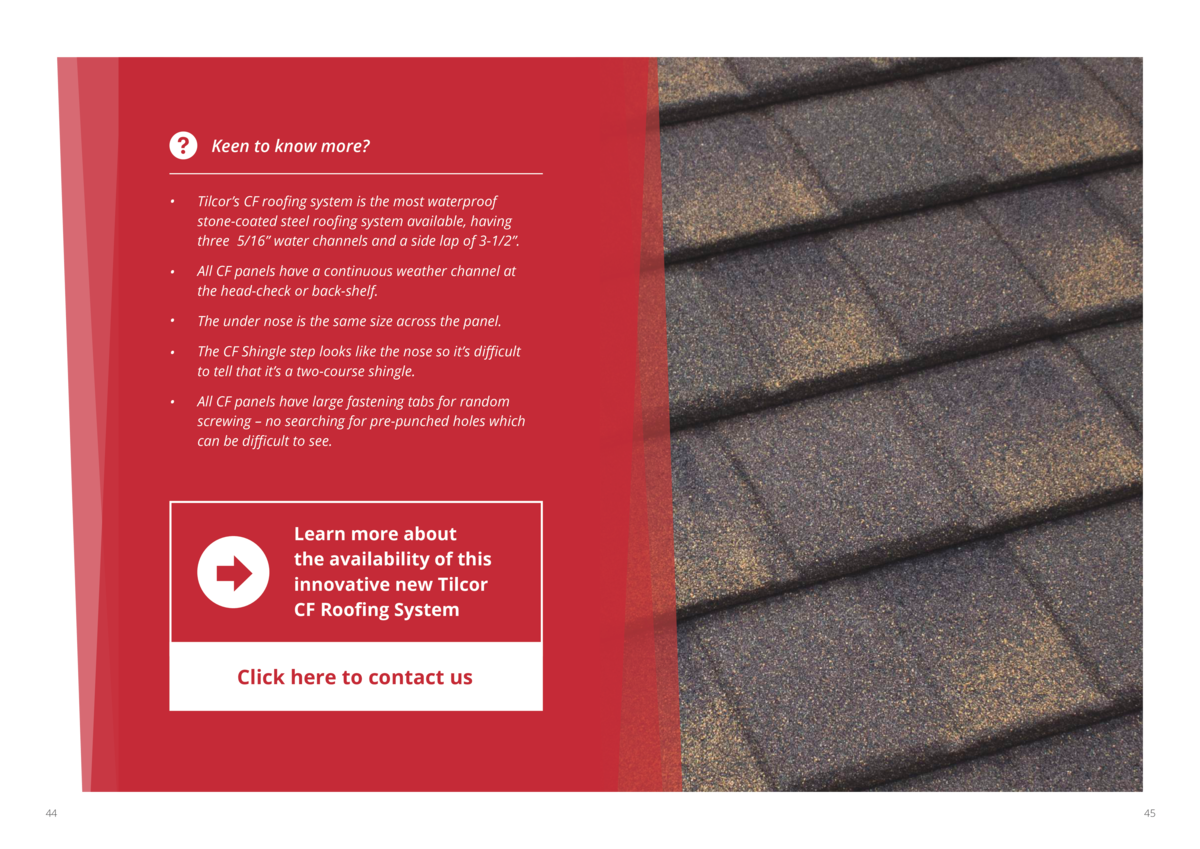 Keen to know more       Tilcor   s CF roofing system is the most waterproof stone-coated steel roofing system available, h...