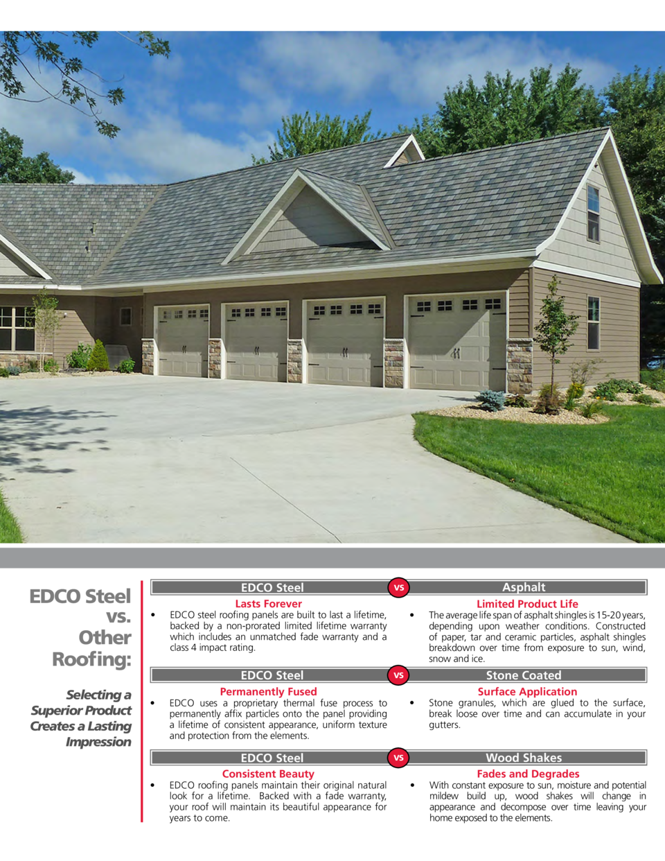 EDCO Steel vs. Other Roofing  Selecting a Superior Product Creates a Lasting Impression  EDCO Steel       Lasts Forever  E...