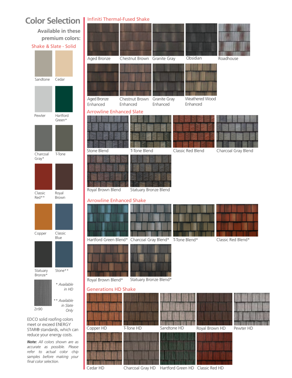 Color Selection  Infiniti Thermal-Fused Shake  Available in these premium colors  Shake   Slate - Solid  Sandtone  Hartfor...