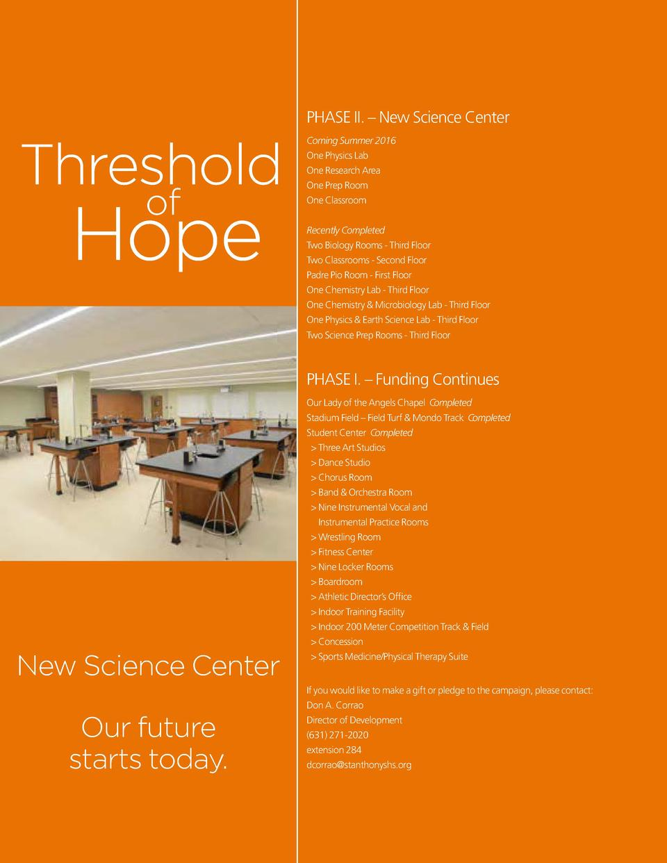 PHASE II.     New Science Center  Threshold of  Hope  Coming Summer 2016 One Physics Lab One Research Area One Prep Room O...