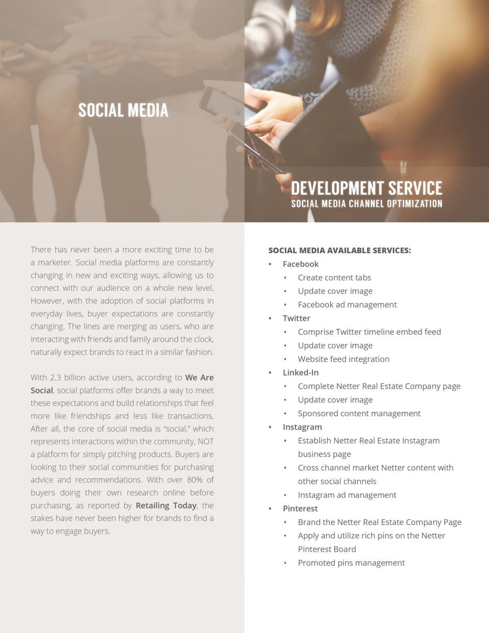 SOCIAL MEDIA  DEVELOPMENT SERVICE SOCIAL MEDIA CHANNEL OPTIMIZATION  There has never been a more exciting time to be  SOCI...