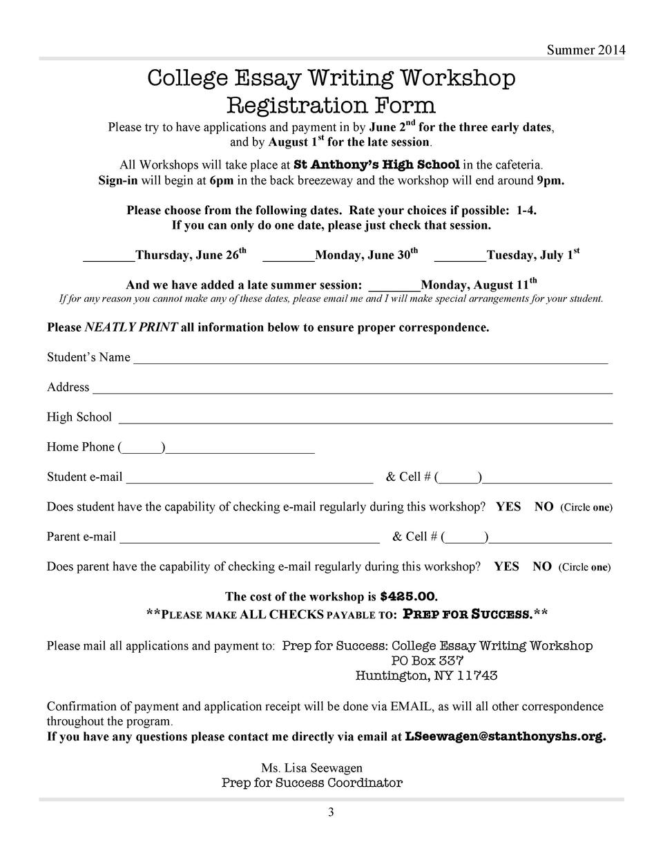 College Essay Workshop St Anthony S High School Summer 2014 College Essay  Writing Workshop Registration Form