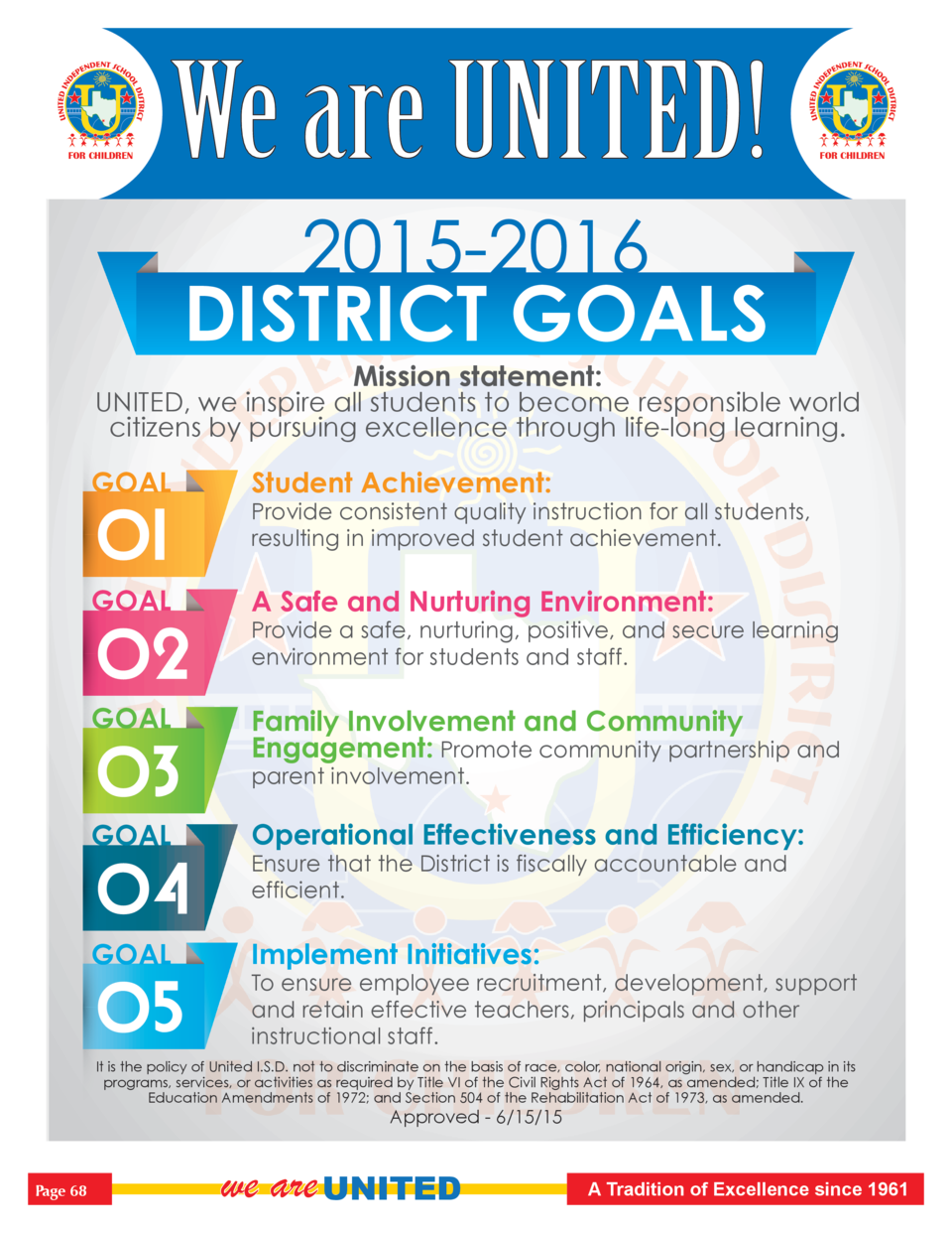 FOR CHILDREN  We are UNITED   FOR CHILDREN  2015-2016 DISTRICT GOALS Mission statement  UNITED, we inspire all students to...