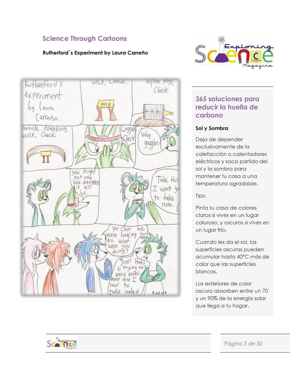 Science Through Cartoons Rutherford  s Experiment by Laura Carre  o  365 soluciones para reducir la huella de carbono Sol ...
