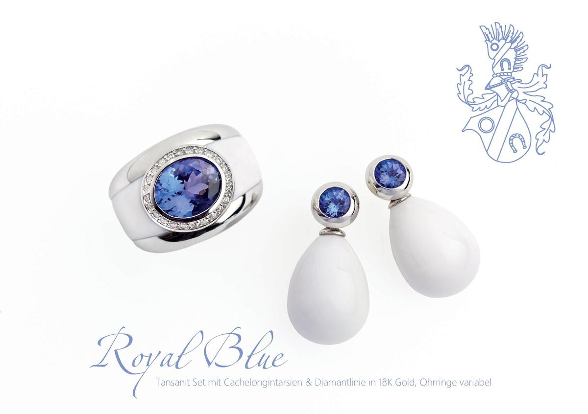 Royal Blue  Tansanit Set mit Cachelongintarsien   Diamantlinie in 18K Gold, Ohrringe variabel