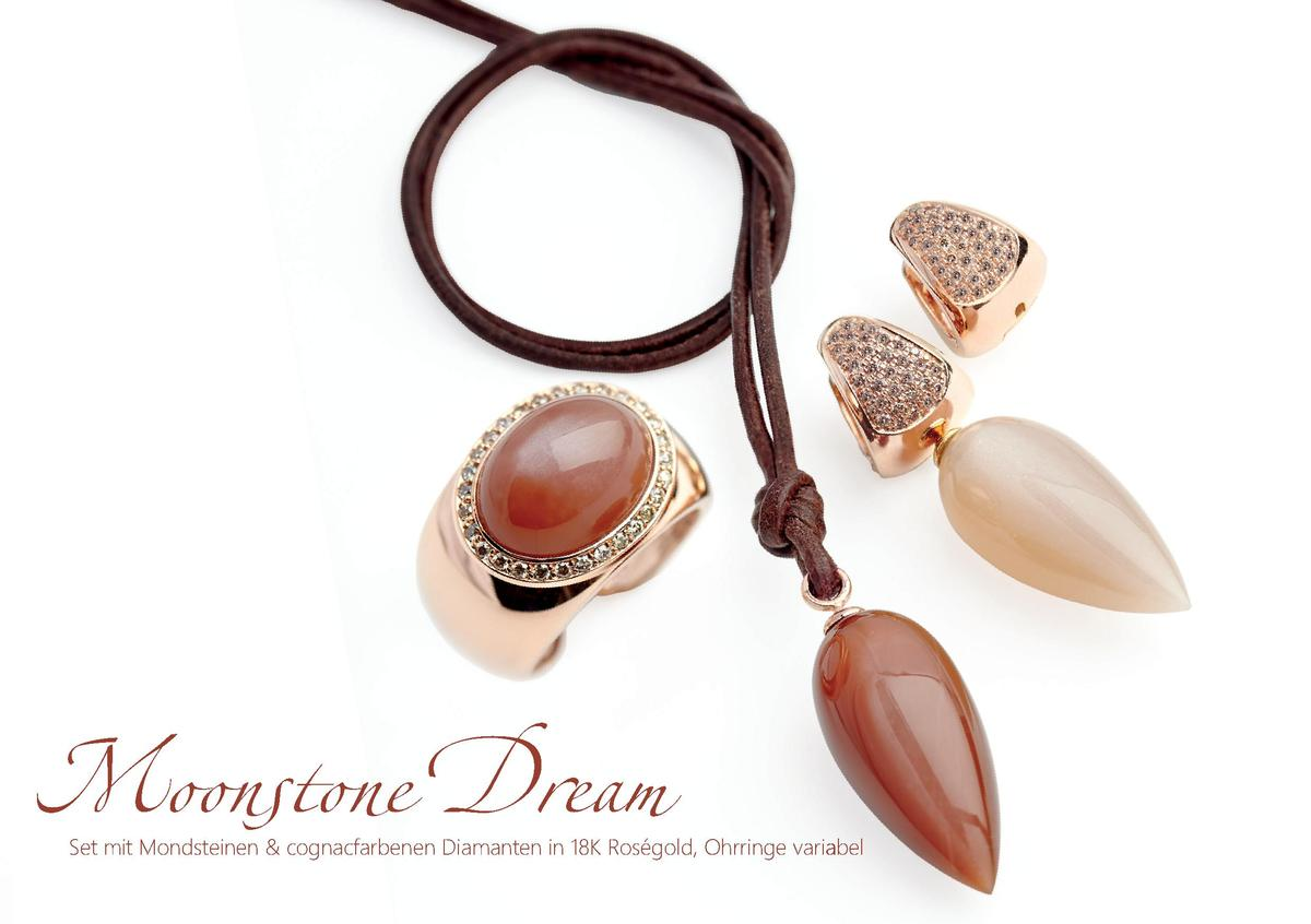 Moonstone Dream  Set mit Mondsteinen   cognacfarbenen Diamanten in 18K Ros  gold, Ohrringe variabel