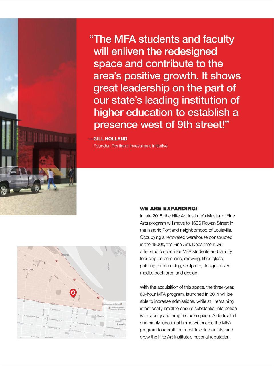 The MFA students and faculty will enliven the redesigned space and contribute to the area   s positive growth. It shows...