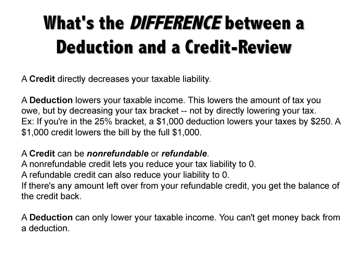 What s the DIFFERENCE between a Deduction and a Credit-Review A Credit directly decreases your taxable liability. A Deduct...