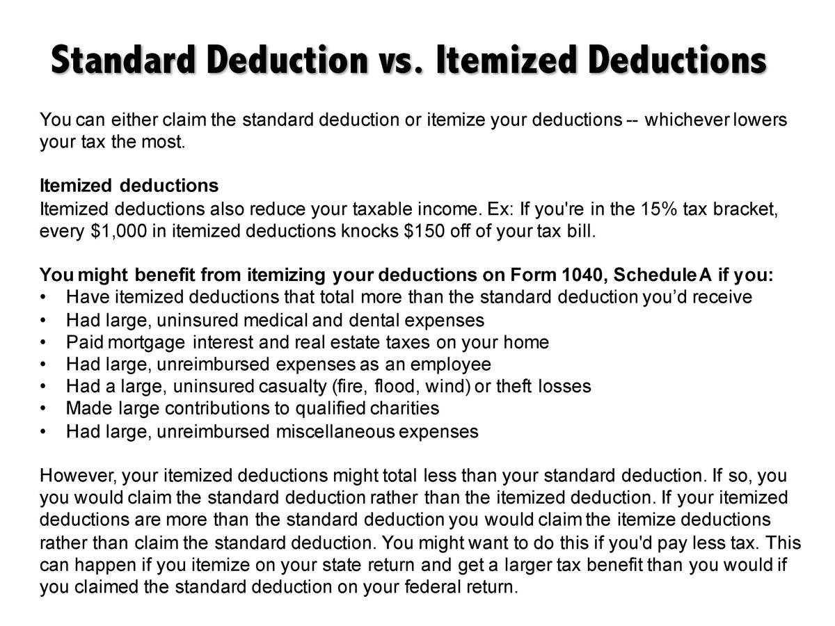 Tax professional value propositi simplebooklet standard deduction vs itemized deductions you can either claim the standard deduction or itemize your falaconquin