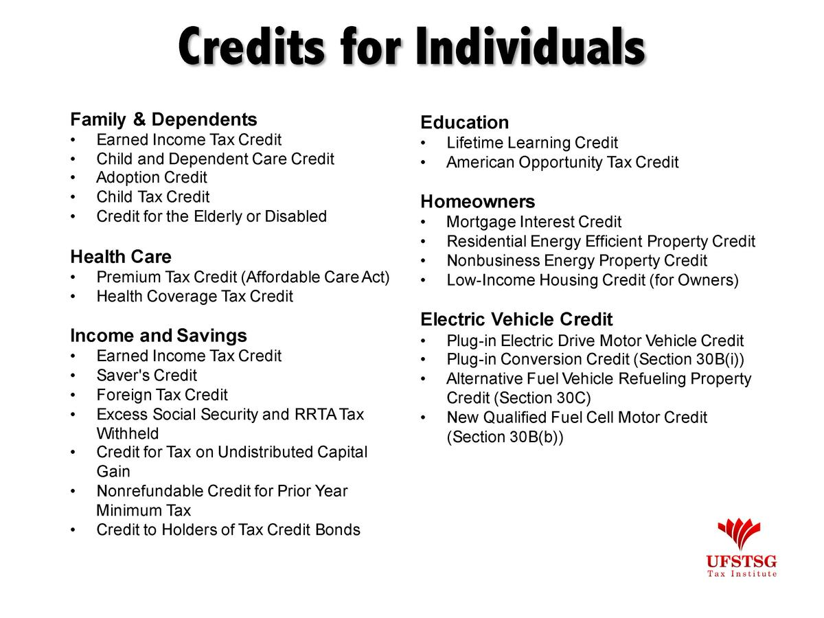 Credits for Individuals Family   Dependents                      Earned Income Tax Credit Child and Dependent Care Credit ...