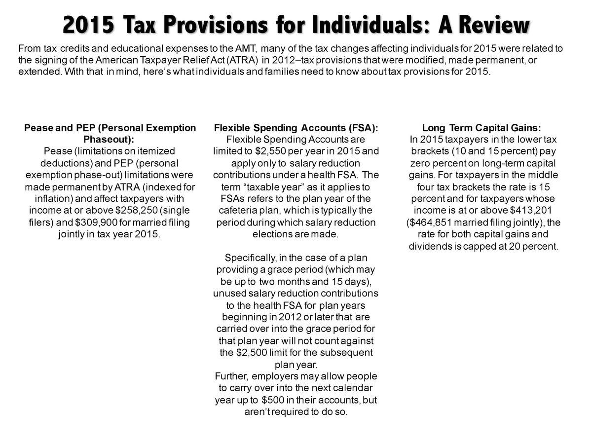 2015 Tax Provisions for Individuals  A Review From tax credits and educational expenses to the AMT, many of the tax change...