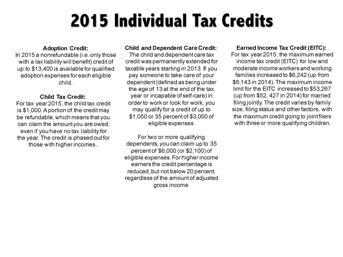 2015 Individual Tax Credits Adoption Credit  In 2015 a nonrefundable  i.e. only those with a lax liability will benefit  c...