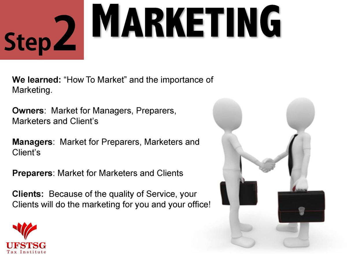 MARKETING Step2 We learned     How To Market    and the importance of Marketing. Owners  Market for Managers, Preparers, M...