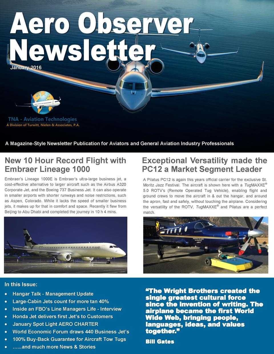 January 2016  A Magazine-Style Newsletter Publication for Aviators and General Aviation Industry Professionals  New 10 Hou...