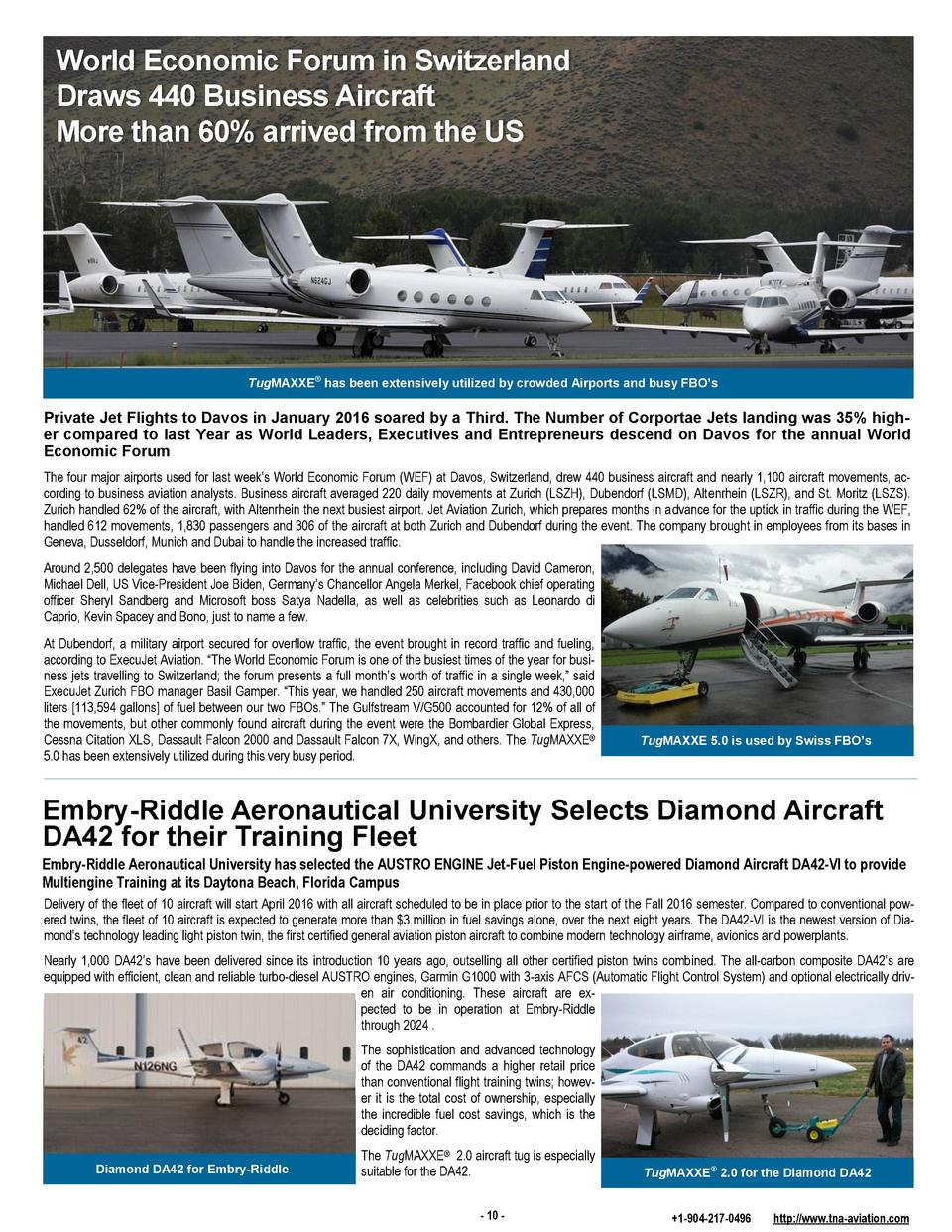 World Economic Forum in Switzerland Draws 440 Business Aircraft More than 60  arrived from the US  TugMAXXE   has been ext...
