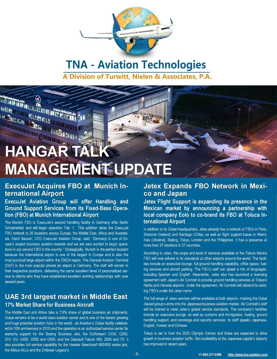 HANGAR TALK MANAGEMENT UPDATE ExecuJet Acquires FBO at Munich International Airport  Jetex Expands FBO Network in Mexico a...