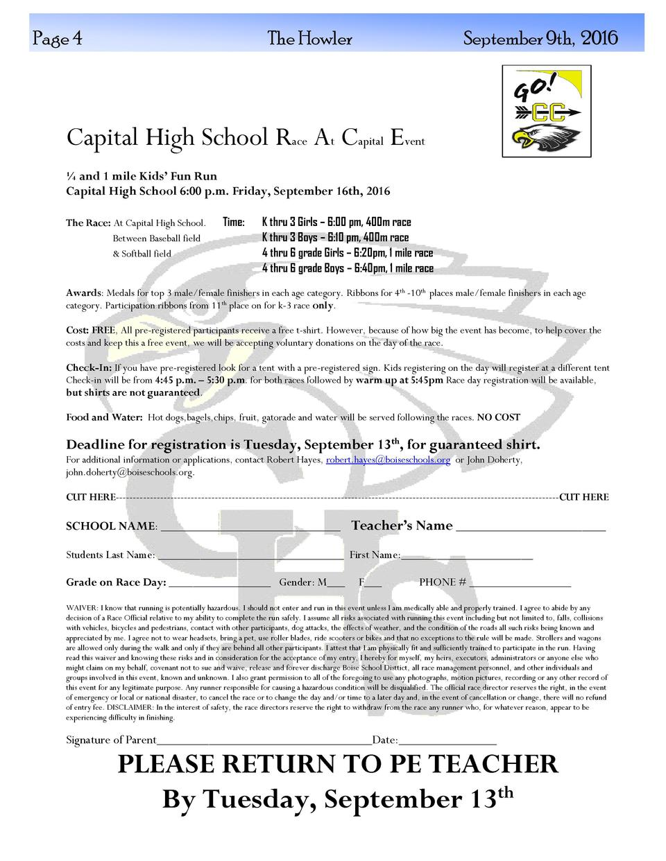 Page 4  The Howler  September 9th, 2016  Capital High School Race At Capital Event    and 1 mile Kids    Fun Run Capital H...