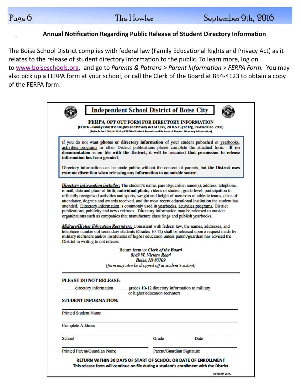 Page 6  The Howler  September 9th, 2016  Annual Notification Regarding Public Release of Student Directory Information The...