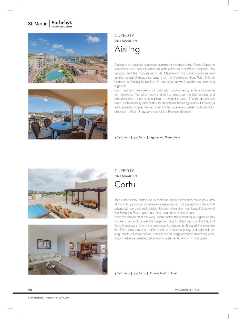 CUPECOY SINT MAARTEN  Aisling Aisling is a beautiful spacious apartment located in the Porto Cupecoy residence in Dutch St...