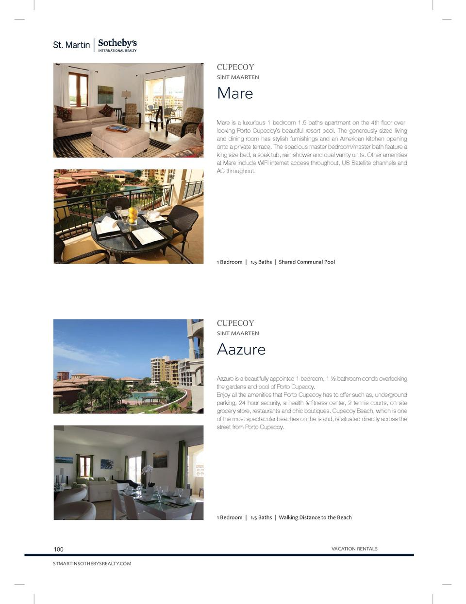 CUPECOY SINT MAARTEN  Mare Mare is a luxurious 1 bedroom 1.5 baths apartment on the 4th floor overlooking Porto Cupecoy   ...