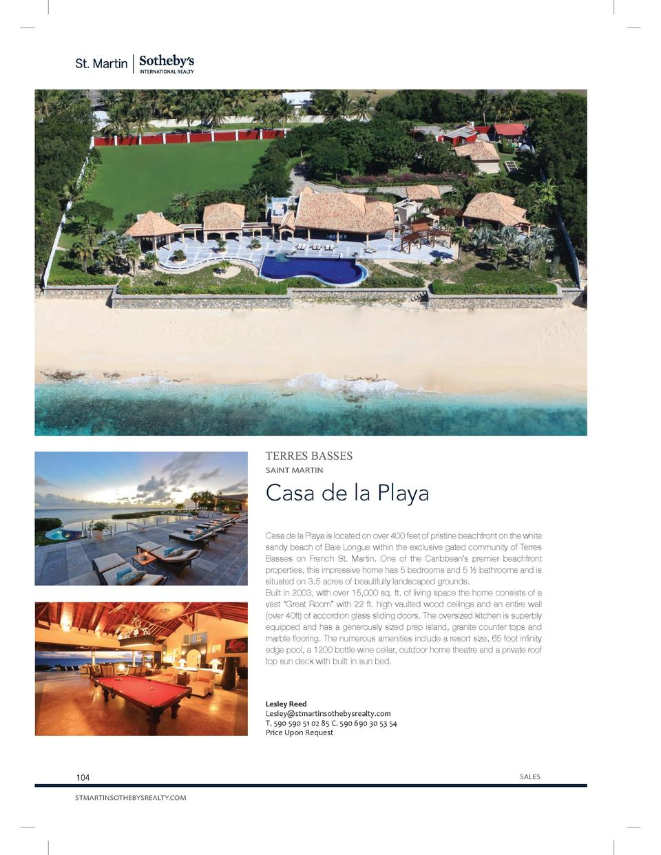 TERRES BASSES SAINT MARTIN  Casa de la Playa Casa de la Playa is located on over 400 feet of pristine beachfront on the wh...