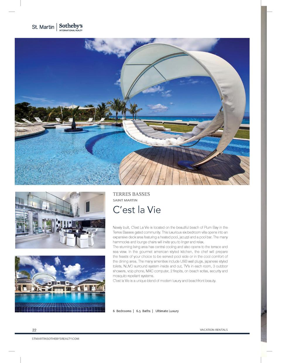TERRES BASSES SAINT MARTIN  C   est la Vie Newly built, C   est La Vie is located on the beautiful beach of Plum Bay in th...