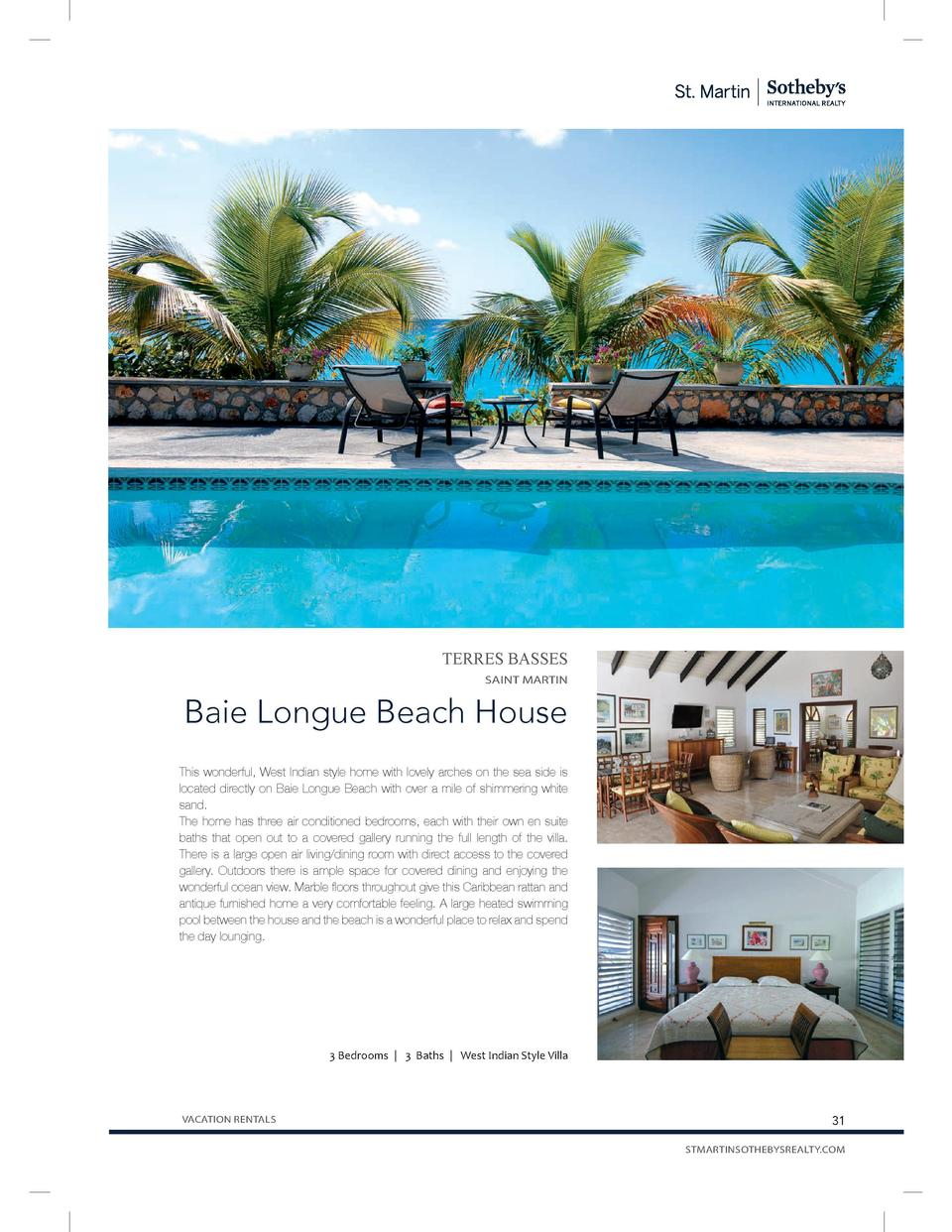 TERRES BASSES SAINT MARTIN  Baie Longue Beach House This wonderful, West Indian style home with lovely arches on the sea s...