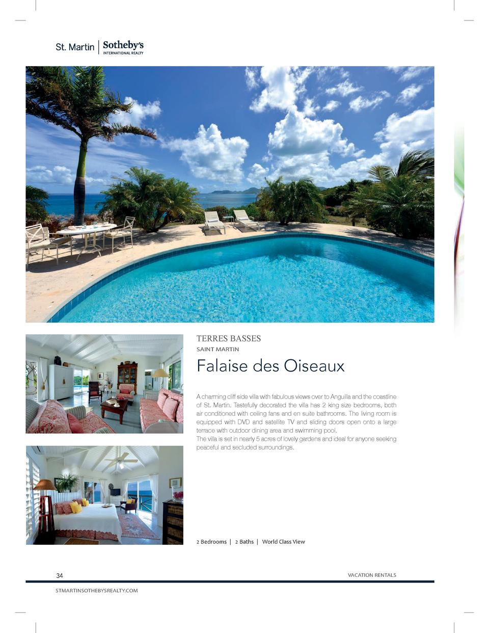 TERRES BASSES SAINT MARTIN  Falaise des Oiseaux A charming cliff side villa with fabulous views over to Anguilla and the c...