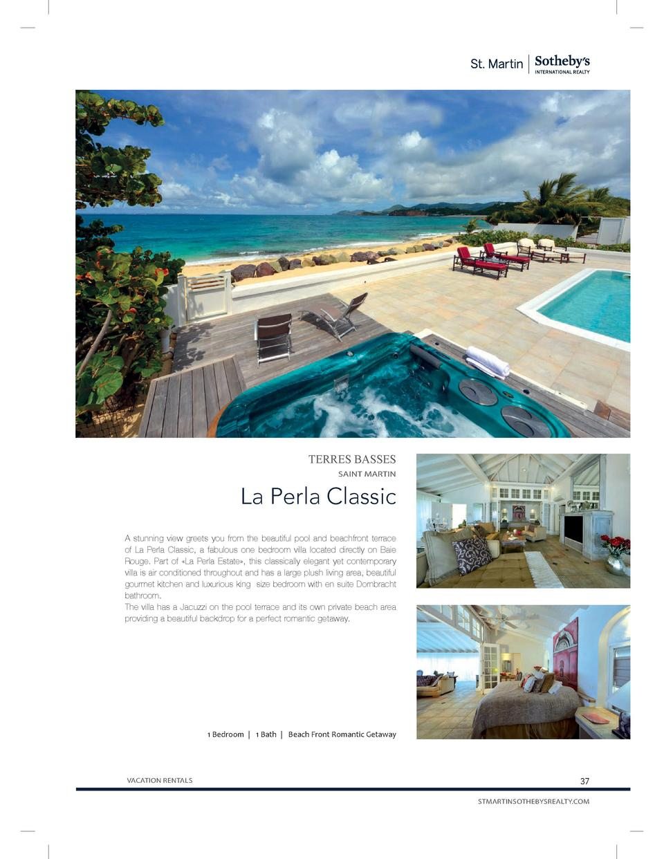 TERRES BASSES SAINT MARTIN  La Perla Classic A stunning view greets you from the beautiful pool and beachfront terrace of ...