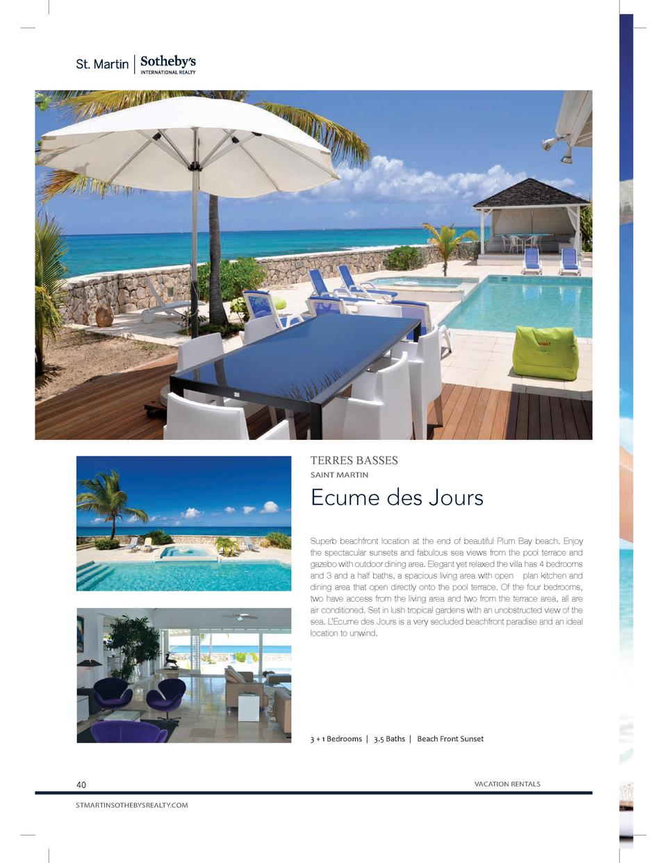 TERRES BASSES SAINT MARTIN  Ecume des Jours Superb beachfront location at the end of beautiful Plum Bay beach. Enjoy the s...