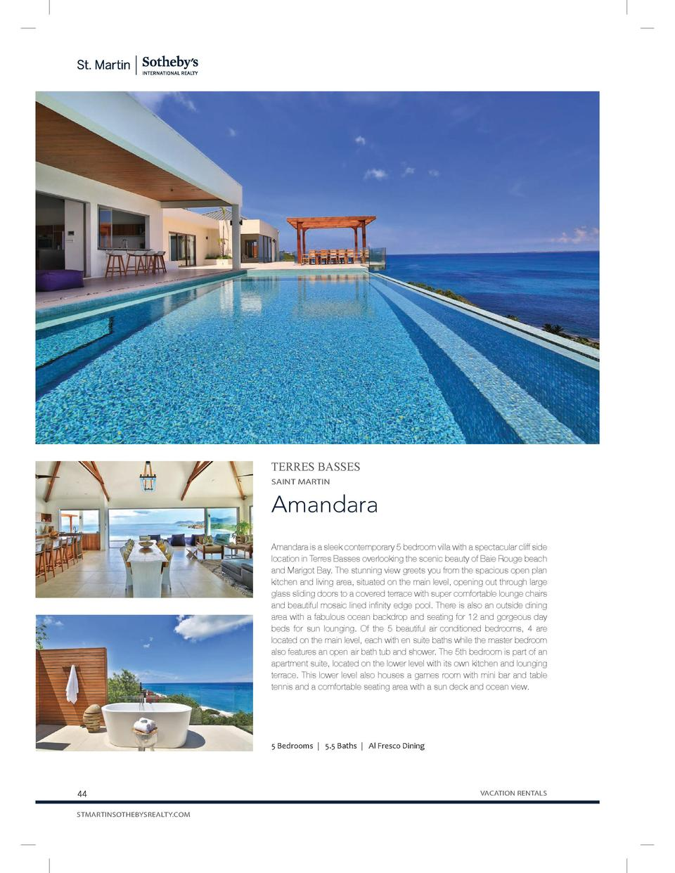 TERRES BASSES SAINT MARTIN  Amandara Amandara is a sleek contemporary 5 bedroom villa with a spectacular cliff side locati...