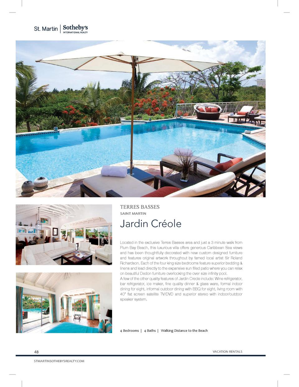 TERRES BASSES SAINT MARTIN  Jardin Cr  ole Located in the exclusive Terres Basses area and just a 3 minute walk from Plum ...