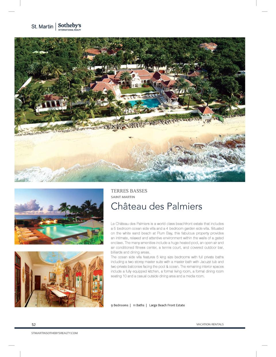 TERRES BASSES SAINT MARTIN  Ch  teau des Palmiers Le Ch  teau des Palmiers is a world-class beachfront estate that include...
