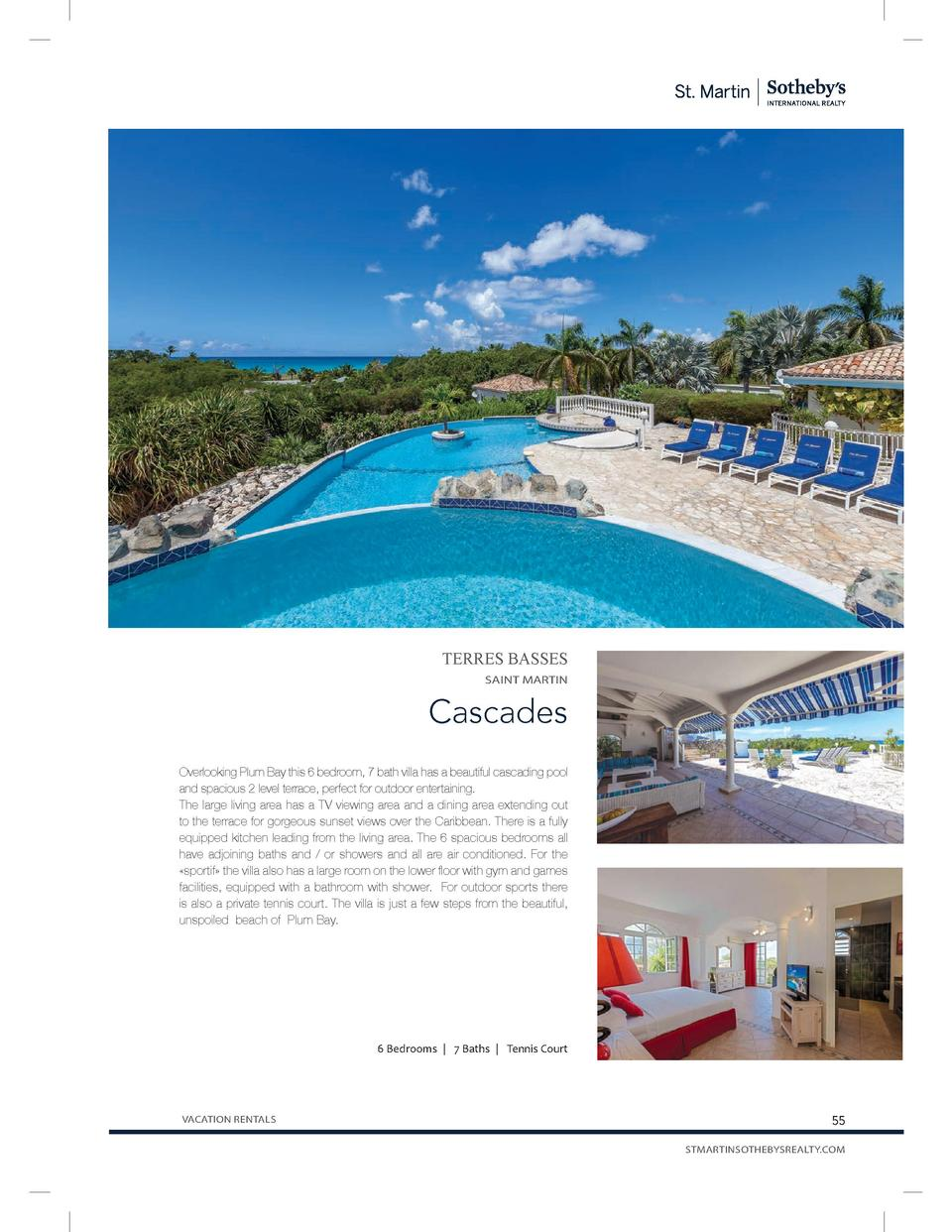 TERRES BASSES SAINT MARTIN  Cascades Overlooking Plum Bay this 6 bedroom, 7 bath villa has a beautiful cascading pool and ...