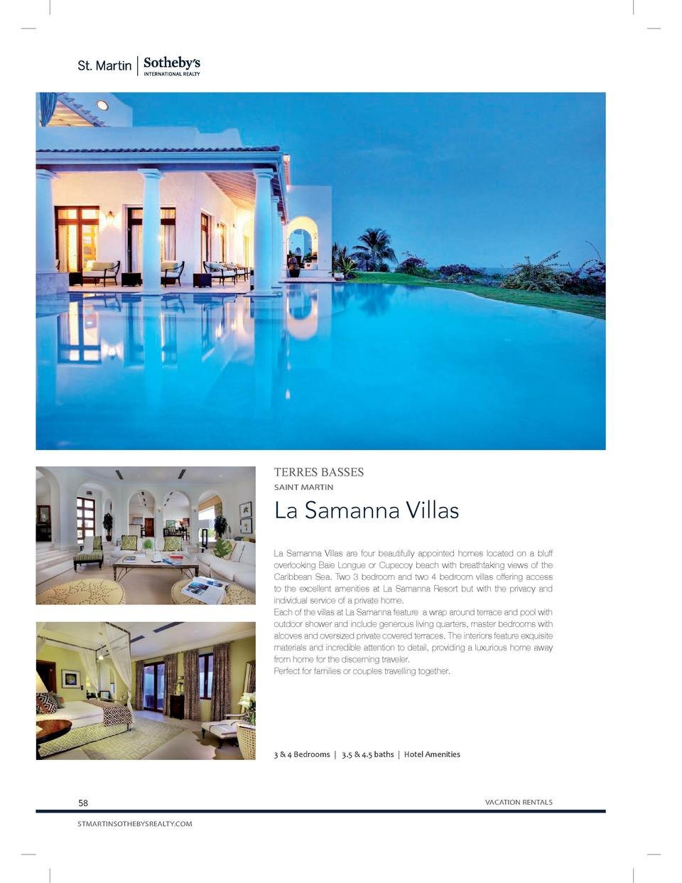 TERRES BASSES SAINT MARTIN  La Samanna Villas La Samanna Villas are four beautifully appointed homes located on a bluff ov...