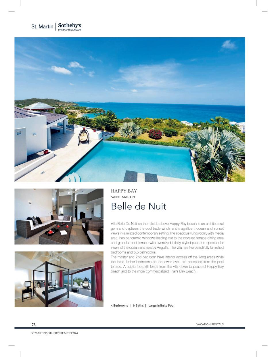 HAPPY BAY SAINT MARTIN  Belle de Nuit Villa Belle De Nuit on the hillside above Happy Bay beach is an architectural gem an...