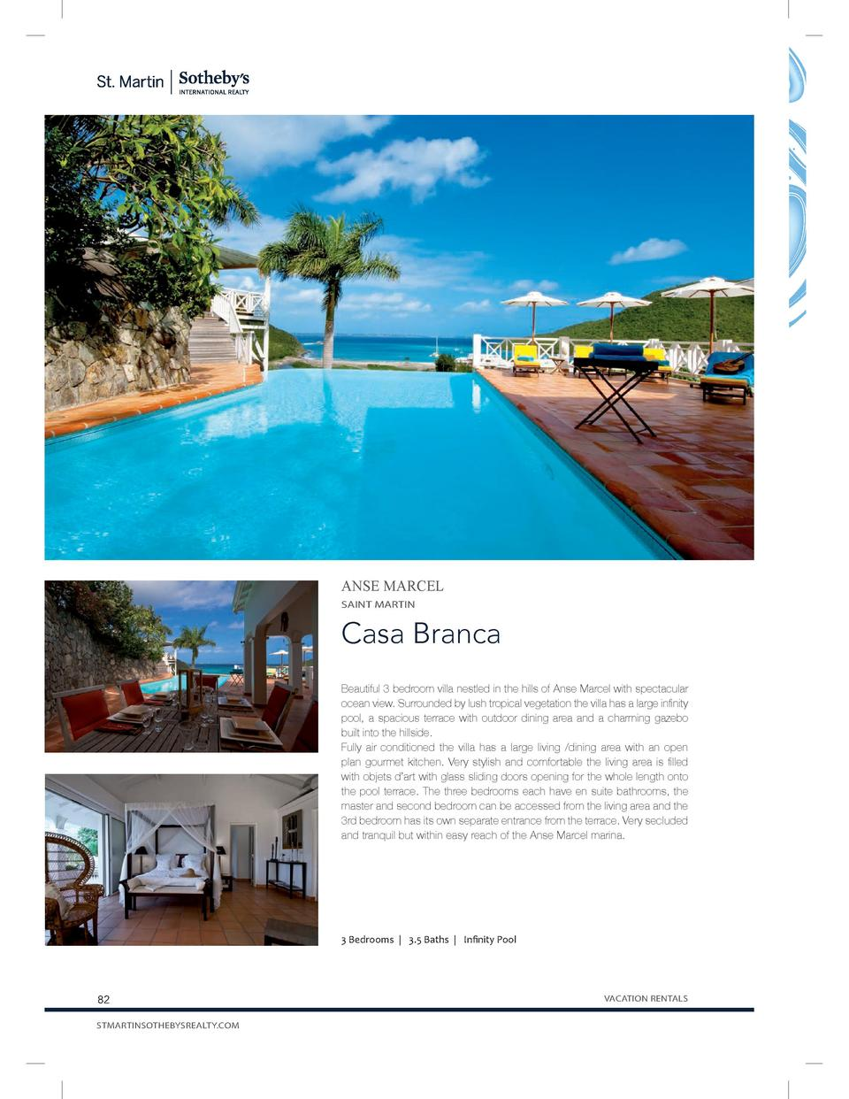 ANSE MARCEL SAINT MARTIN  Casa Branca Beautiful 3 bedroom villa nestled in the hills of Anse Marcel with spectacular ocean...