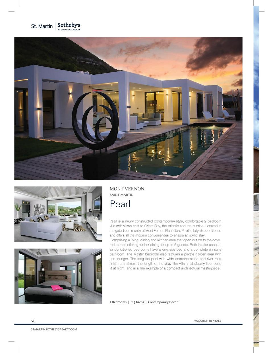 MONT VERNON SAINT MARTIN  Pearl Pearl is a newly constructed contemporary style, comfortable 2 bedroom villa with views ea...