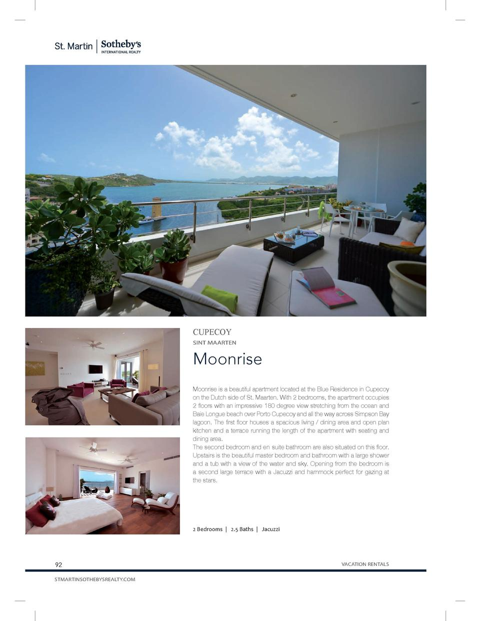 CUPECOY SINT MAARTEN  Moonrise Moonrise is a beautiful apartment located at the Blue Residence in Cupecoy on the Dutch sid...