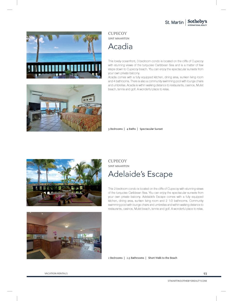 CUPECOY SINT MAARTEN  Acadia This lovely oceanfront, 3 bedroom condo is located on the cliffs of Cupecoy with stunning vie...