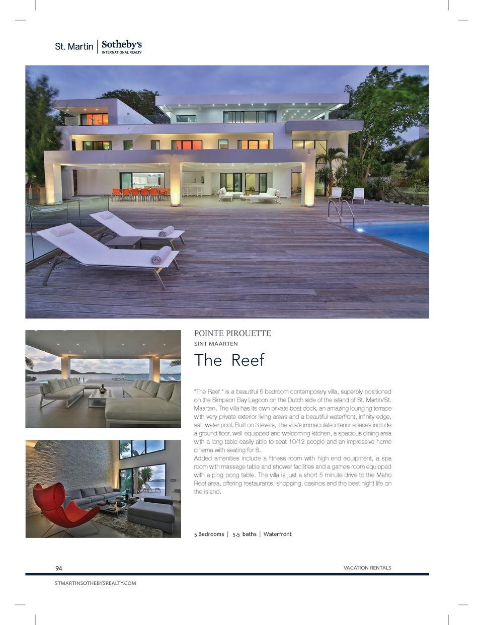 POINTE PIROUETTE SINT MAARTEN  The Reef    The Reef     is a beautiful 5 bedroom contemporary villa, superbly positioned o...