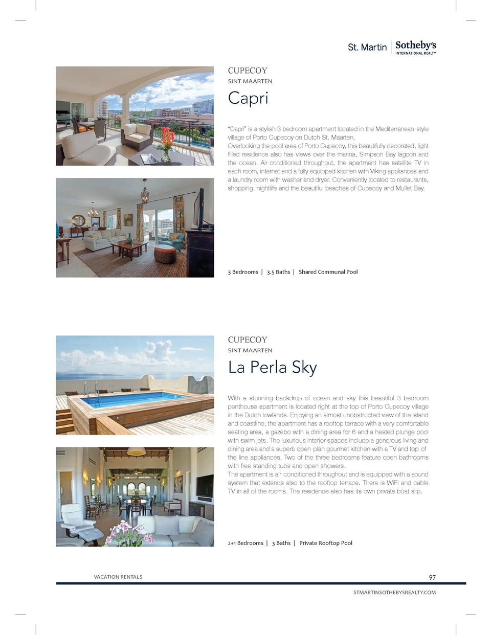 CUPECOY SINT MAARTEN  Capri    Capri    is a stylish 3 bedroom apartment located in the Mediterranean-style village of Por...