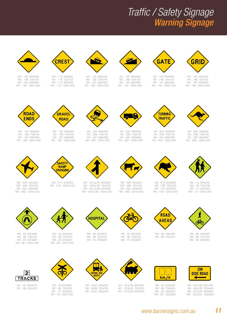 Traffic   Safety Signage Warning Signage  W5 - 10A 600x600 W5 - 10B 750x750 W5 - 10C 900x900 W5 - 10D 1200x1200  W5 - 18A ...