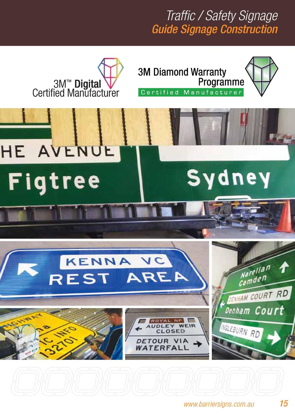 Traffic   Safety Signage  Guide Signage Construction  www.barriersigns.com.au  15