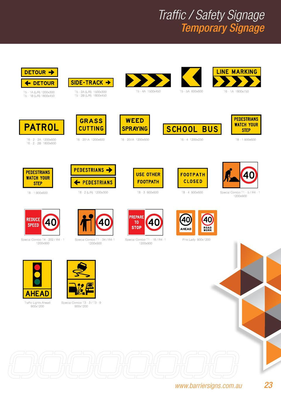 Traffic   Safety Signage Temporary Signage  T5 - 2A  L R  1500x300 T5 - 2B  L R  1800x450  T5 - 1A  L R  1200x300 T5 - 1B ...
