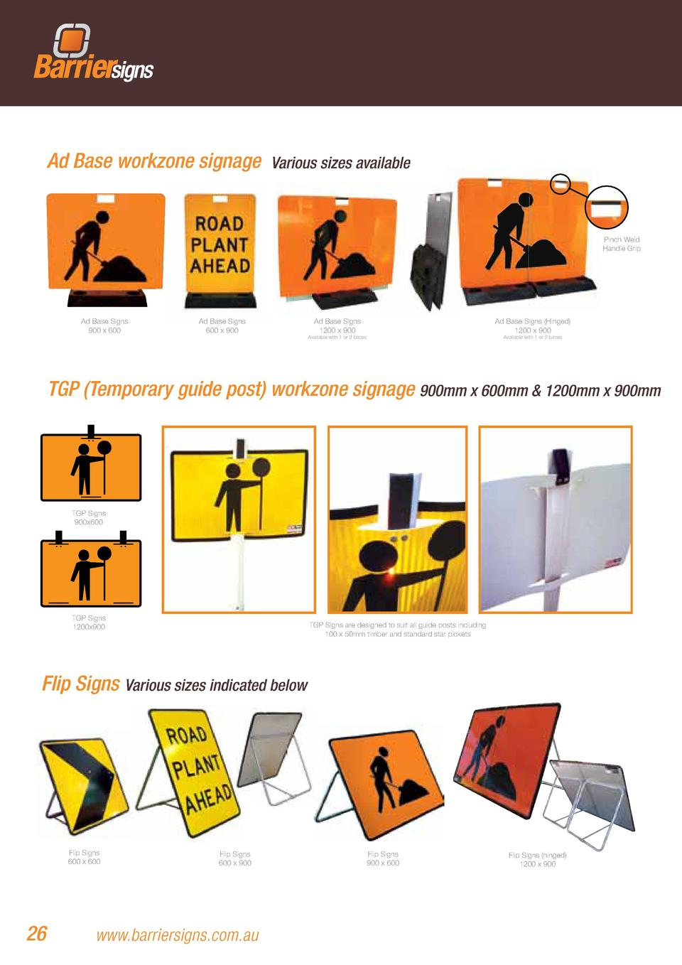 Ad Base workzone signage  Various sizes available  Pinch Weld Handle Grip  Ad Base Signs 900 x 600  Ad Base Signs 600 x 90...